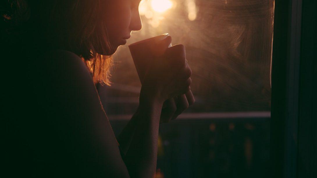 girl, drinking, tea