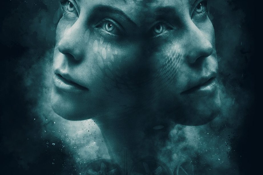 duality, faces, female